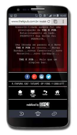 Site mobile do The K Pub